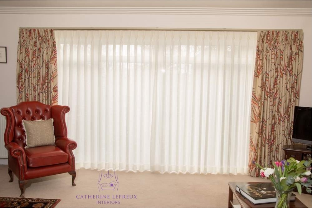 Neutral Red Living Room Curtains Catherine Lepreux Interiors