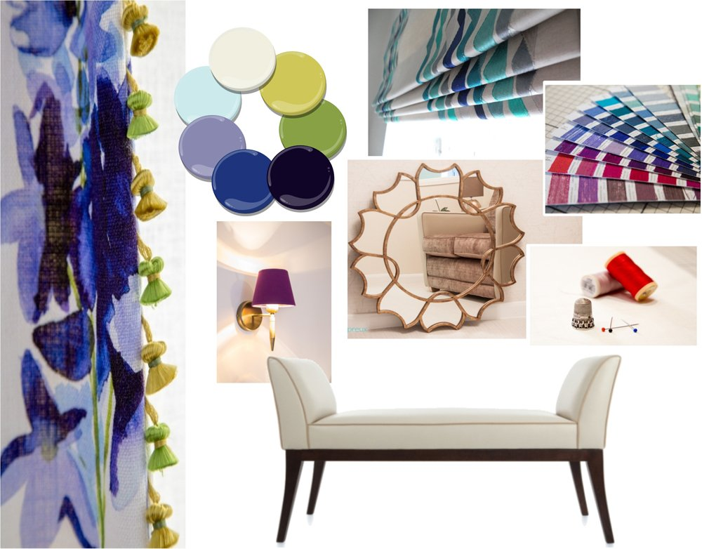 Spring 2017 colours and fabrics for interior design, curtains, blinds & soft furnishings. Chaise from Charlotte James Furniture.