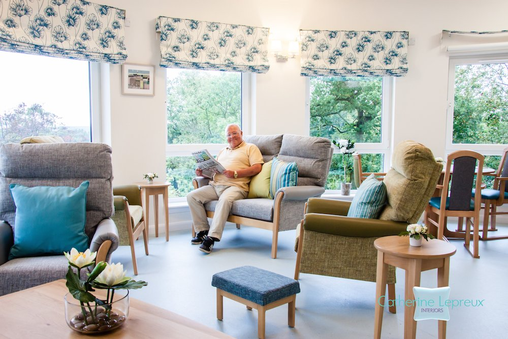 Modern country style residents' lounge at Bandrum Nursing Home Fife