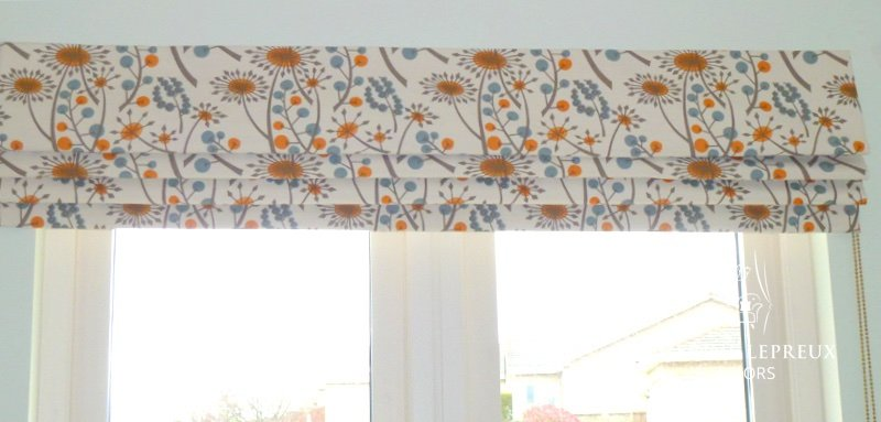 Interlined roman blind in Angie Lewin shabby chic print Hedgrow