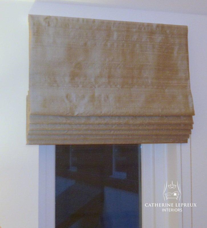 Bespoke gold silk roman blind with cascade pleats