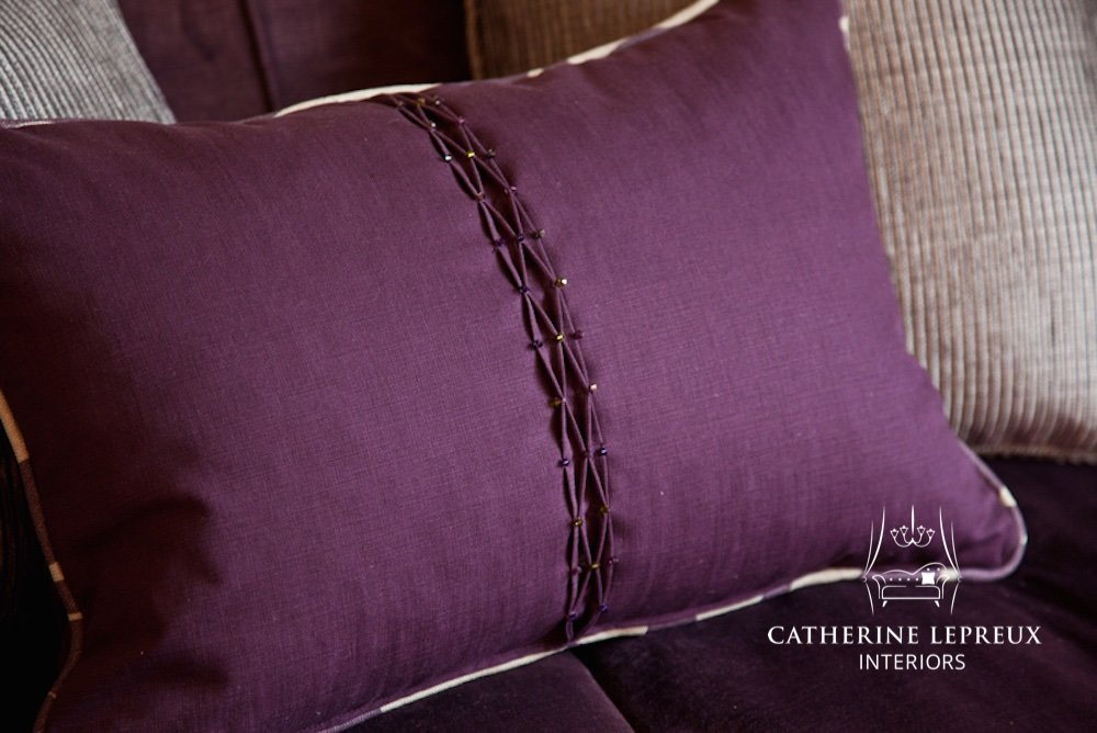 soft furnishings bespoke purple pintuck handmade cushion with Swarovski bead details