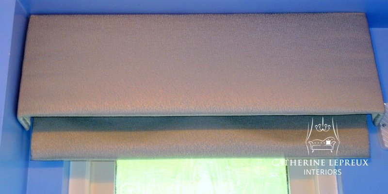 Grey silk box pelmet with mock roman blind