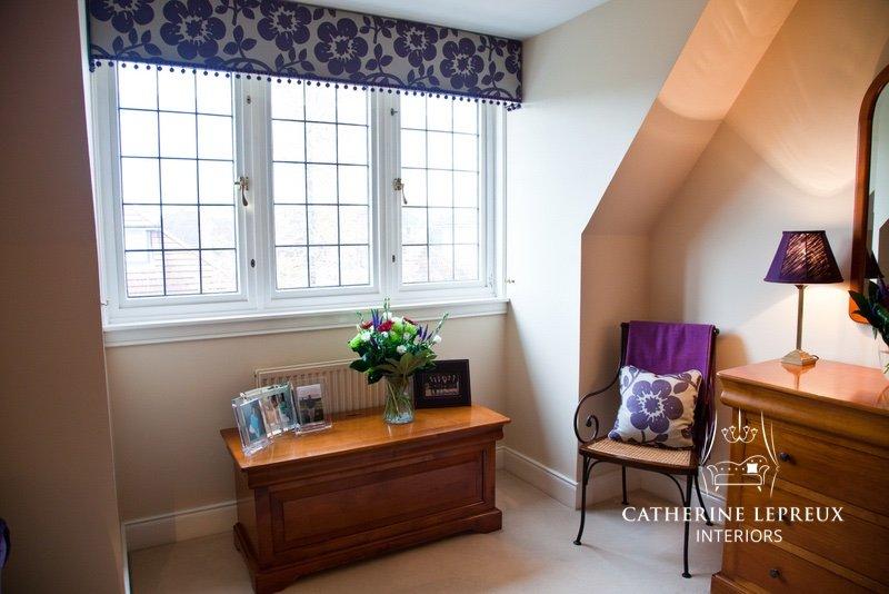 interior design soft furnishings made to measure pelmet with pompom trimming for an Edinburgh dressing room