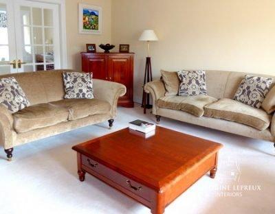 interior design before photo. Edinburgh classic contemporary living room with neutral velvet sofas