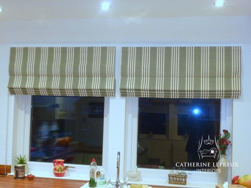 Green & cream striped kitchen roman blind. Fabric by Malabar