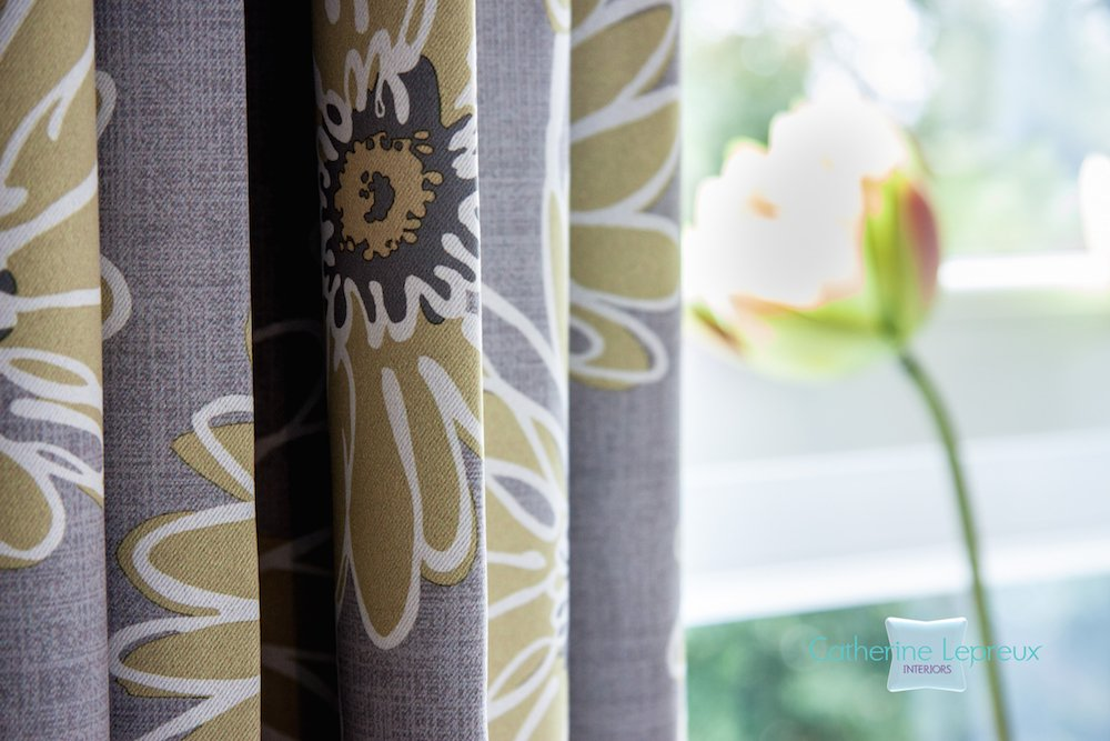 Care home curtains in grey yellow fabric by Panaz