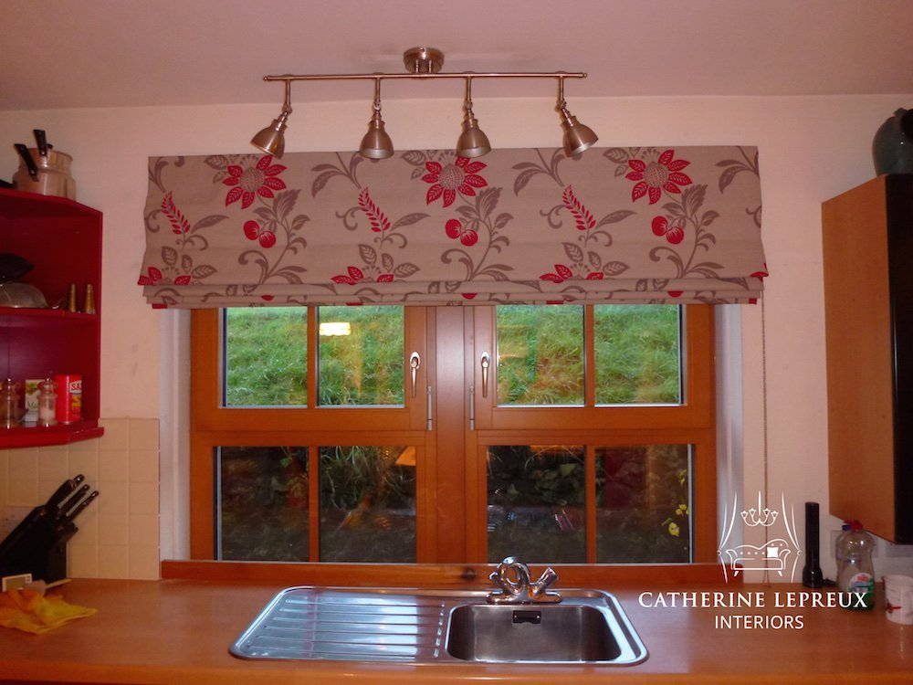 handmade blinds-modern country red floral roman blind at a Fife kitchen window
