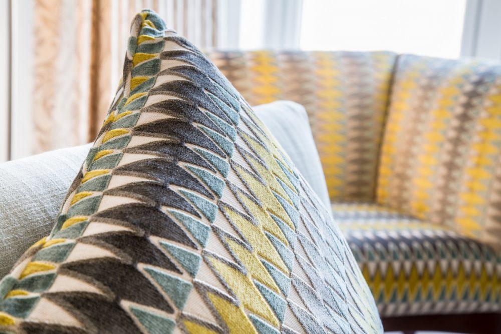 soft furnishings-piped cushion yellow grey teal geometric pattern-Villa Nova velvet-Edinburgh contemporary house
