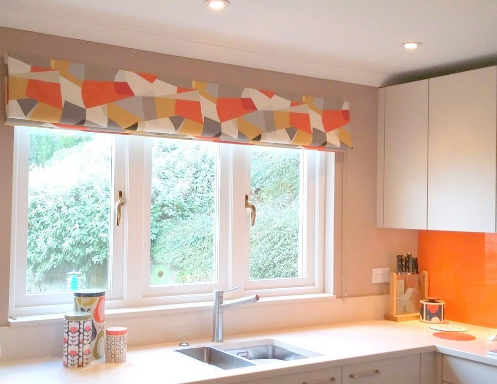 handmade blind-geometric grey orange roman blind at a Fife kitchen window