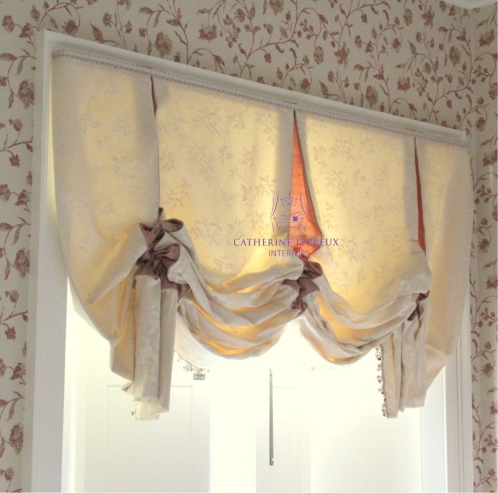 handmade blind-ivory silk bespoke London blind in a St Andrews Fife guest bedroom with working shutters