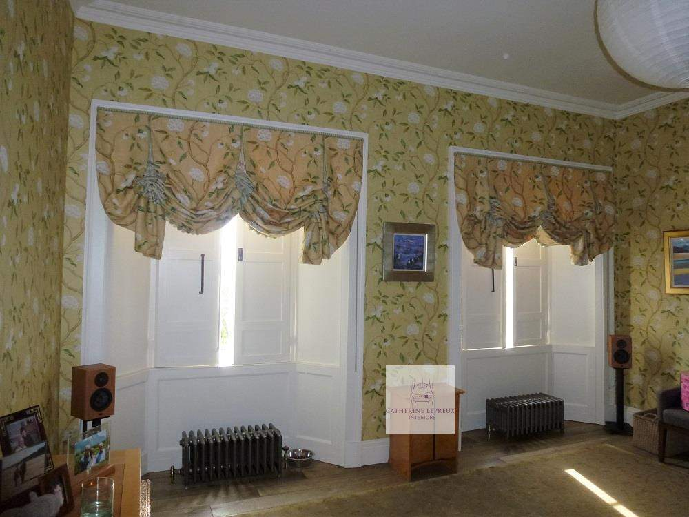 handmade blinds-yellow London roman blinds in a period property Fife St Andrews