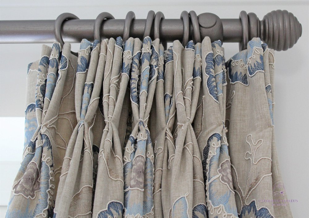 curtain maker grey painted wooden pole neutral blue curtains Edinburgh