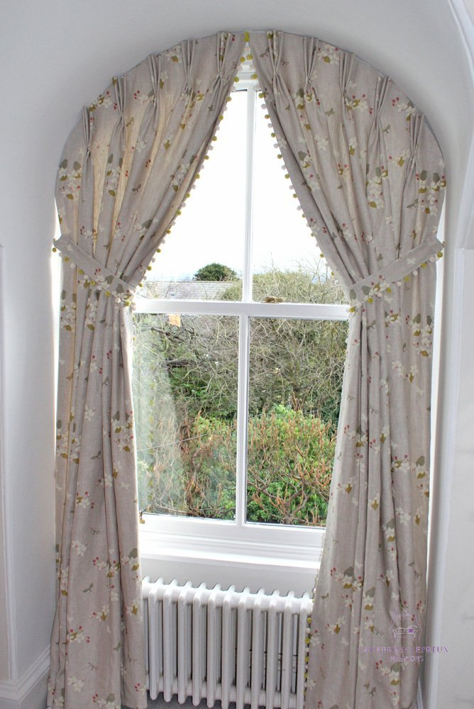 curtains arched window pinch pleat shaped heading Fife