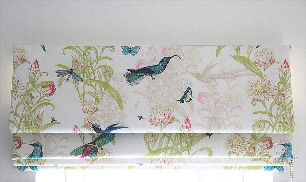 handmade blinds roman Blendworth turquoise print Edinburgh