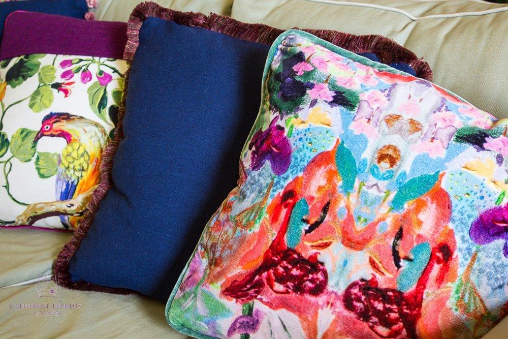 Repurposed bespoke velvet print handmade cushions Fife