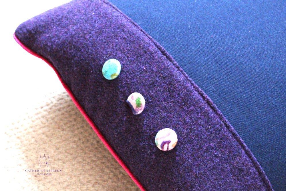 re purposed harris tweed bespoke cushions velvet buttons