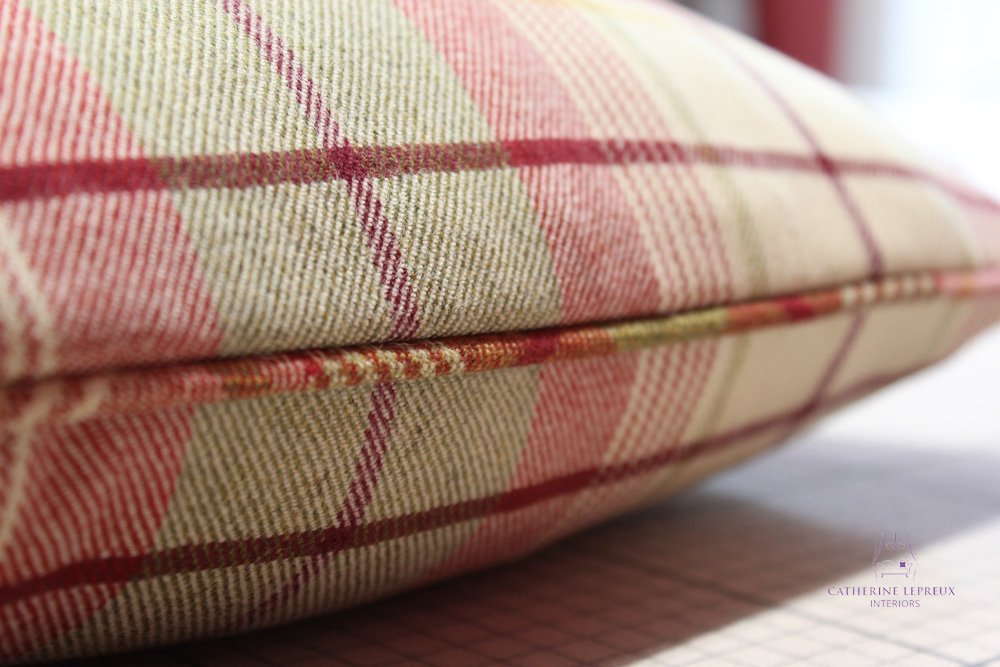 soft furnishings handmade piped cushion Anta red green wool