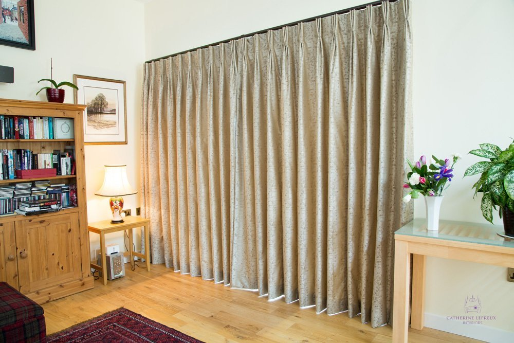 Curtainmaker Edinburgh handmade greige silk curtains