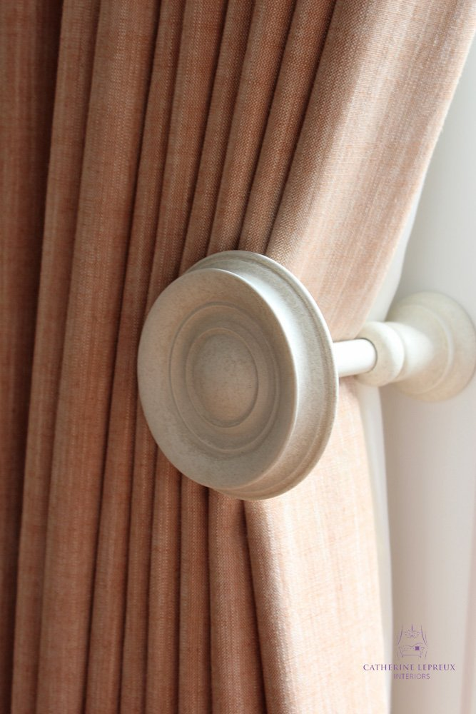 Handmade interlined curtains for an Edinburgh period flat Alison Davies wooden holdback