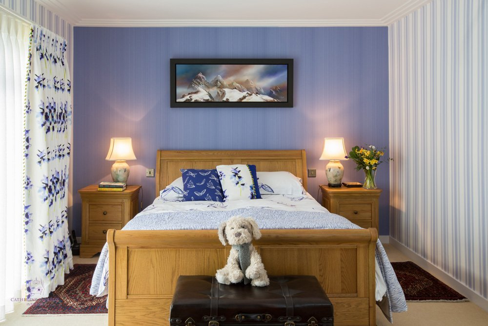 Edinburgh interior design modern blue white bedroom Yves Delorme bedlinen