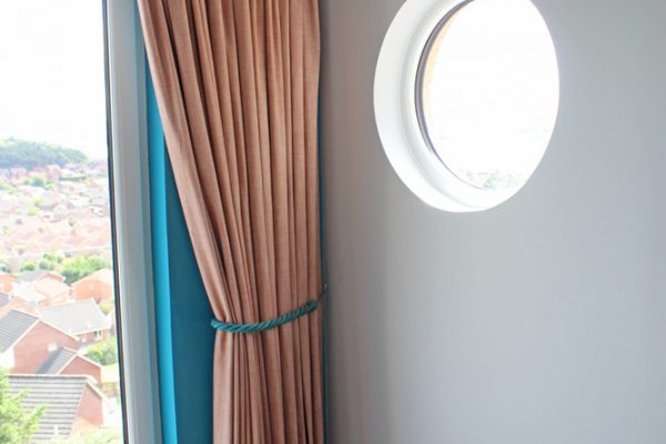 curtains & soft furnishings fit for a luxury B&B pencil pleat curtains contrast rope tieback porthole window Fife