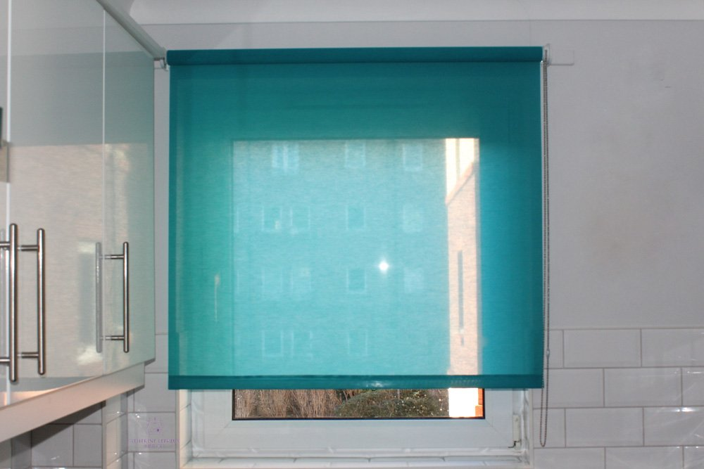 Turquoise voile semi sheer roller blind kitchen window Edinburgh