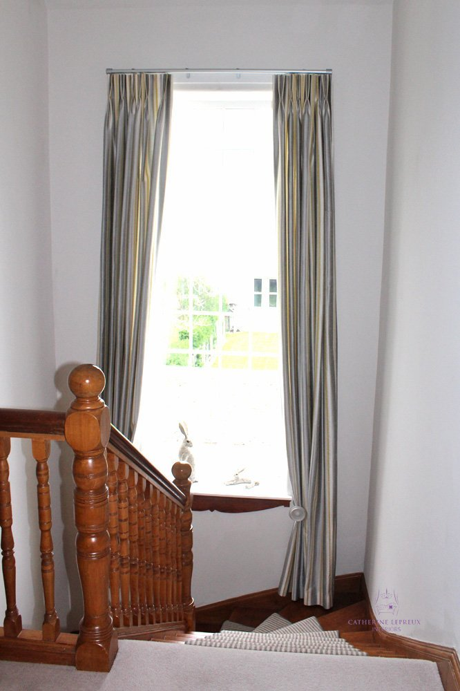 hand made curtains tall stair window Edinburgh