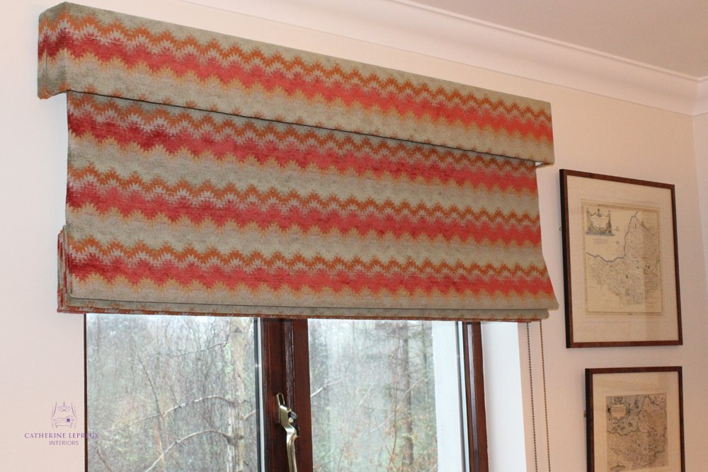 Soft furnishings roman blind matching pelmet red green geometric fabric Colefax Fowler