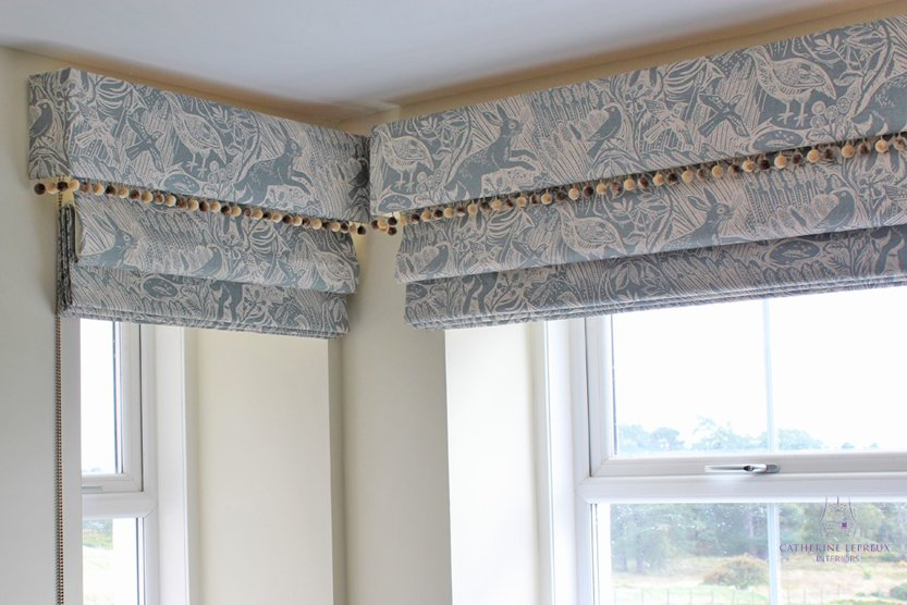 Square bay window Perthshire roman blind matching pelmet pom poms
