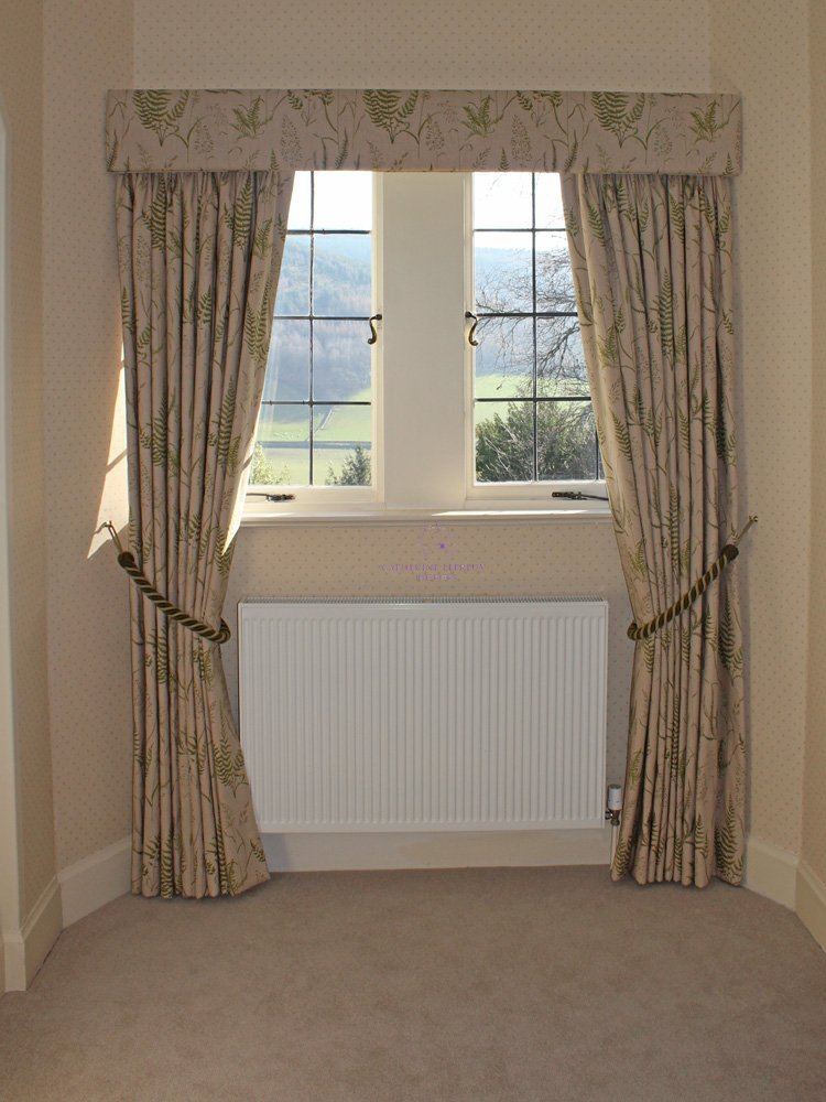 Handmade full length interlined curtains pelmet rope tiebacks