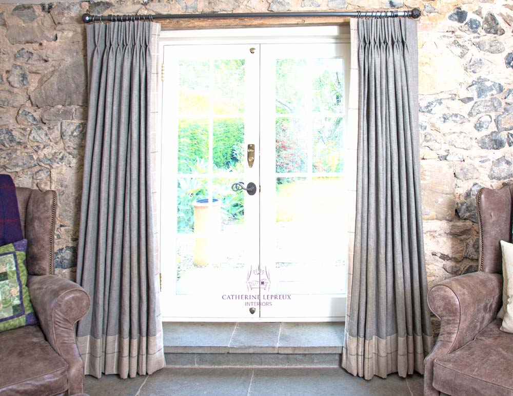 Pinch pleat handmade grey linen curtains with contrast borders
