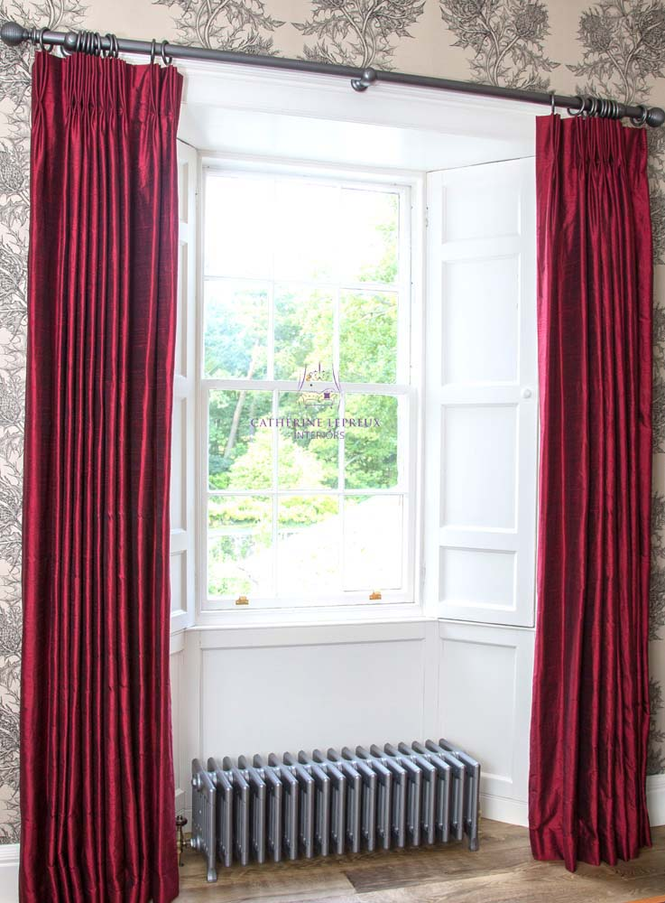 Triple pinch pleat curtains handmade interlined red silk Timorous Beasties thistle wallpaper