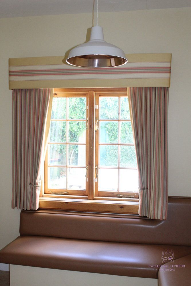 Edinburgh curtainmaker sill length curtains matching padded pelmet breakfast room