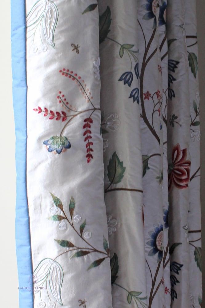 Edinburgh curtain maker ivory floral silk curtains sm