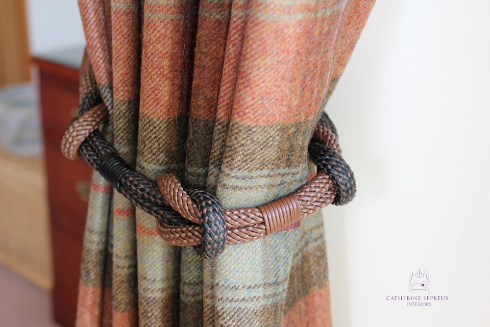 soft furnishings knotted leather tieback wool plaid curtains sm