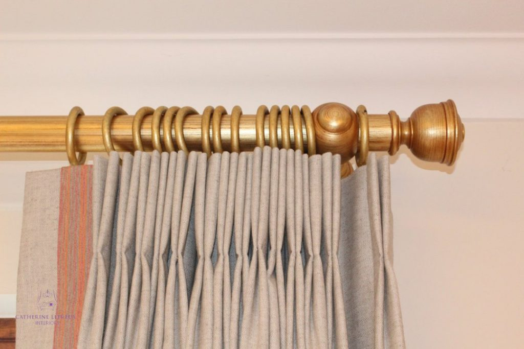 golden curtain pole and finial