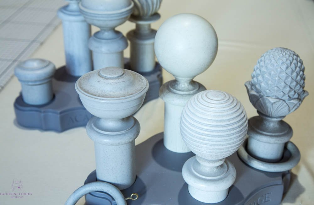 Painted wooden curtain pole plain ornate finial designs