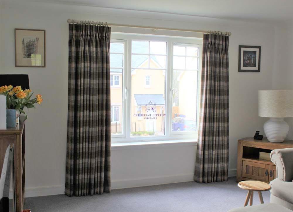 Curtainmaker Edinburgh pinch pleat wool plaid curtains wooden curtain pole